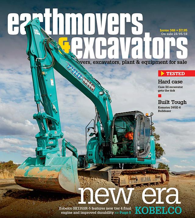 Kobelco on front of Earthmovers & Excavators Magazine